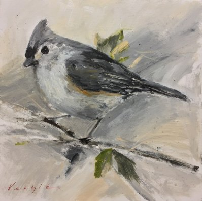 Tufted Titmouse, acrylic on canvas, 20 x 20 inches