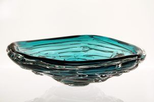blown glass water bowl in lagoon