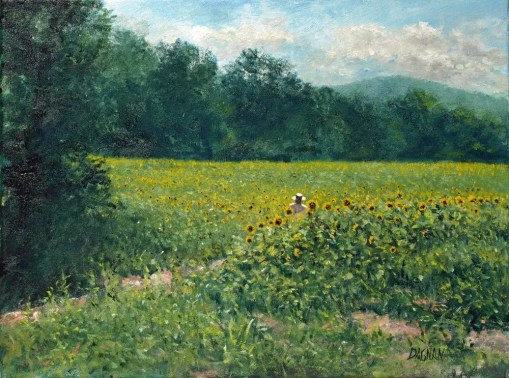 Sunflower Fields, South Knoxville - oil on panel, 12 x 16 inches