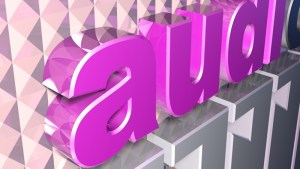 left close-up of audiox logo pink