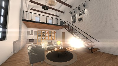 view of complete loft from entrance 3d architectural