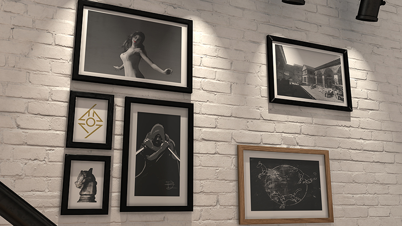 staris wall with paintings 3d architectural