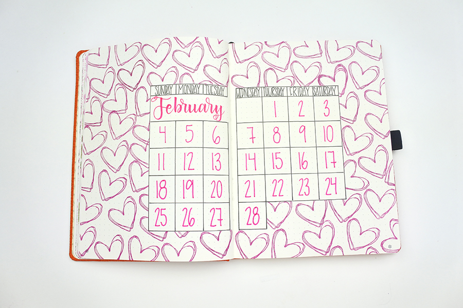February Calendar Bullet Journal Layout by @thediyday www.thediyday.com