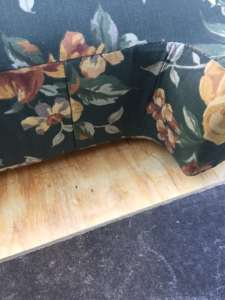 couch cushion on plywood