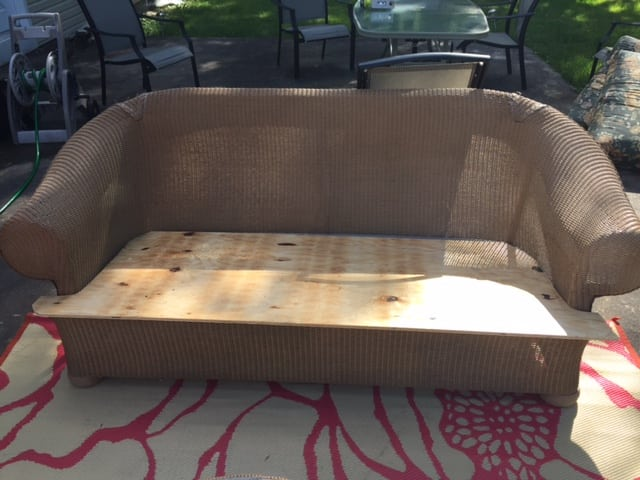 plywood on the outdoor couch