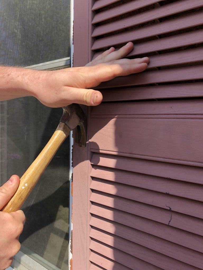 shutter removal with hammer