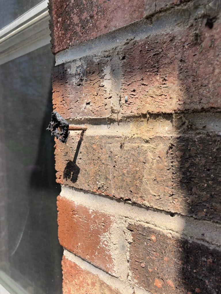 shutter removal nail in brick