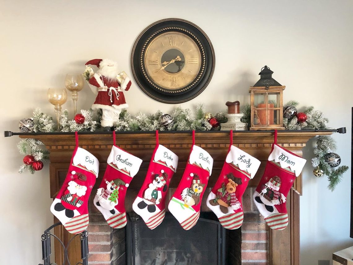 christmas stockings on the mantle