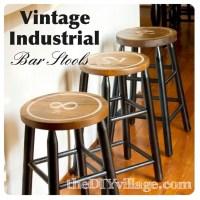 Vintage Industrial DIY Bar Stools - the DIY village