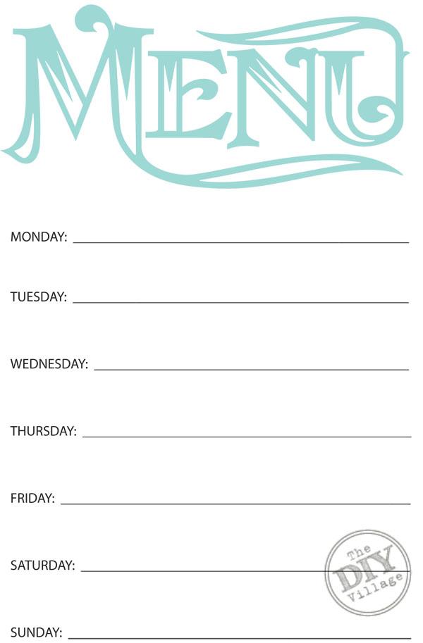 Free Printable Weekly Menu Planner - The DIY Village