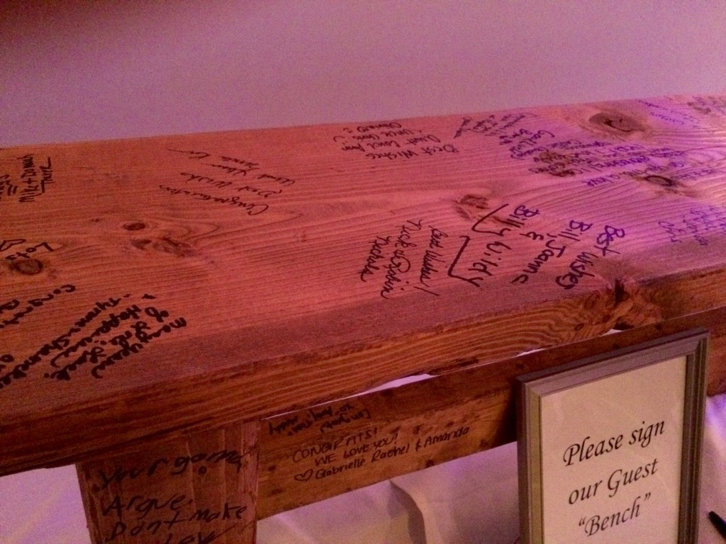 Bench For Wedding Guests To Sign