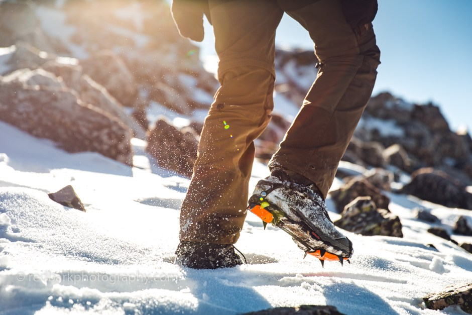aggressive crampons in action for hiking