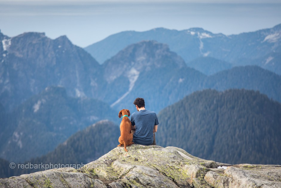 Man and dog at seymour peak