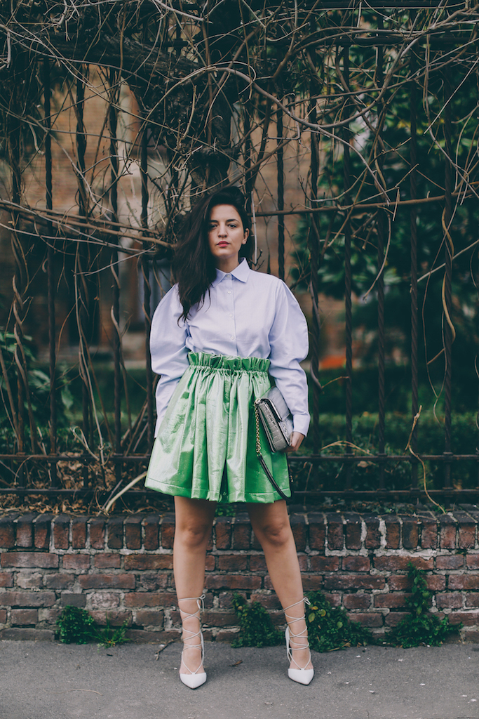 alcoolique green skirt streetstyle