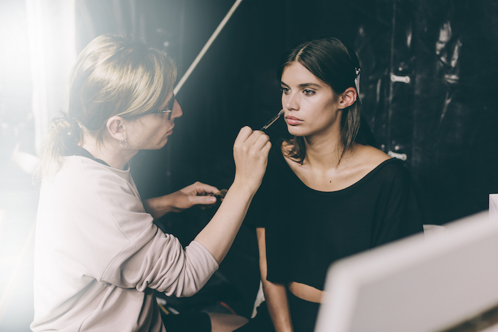 Sara Sampaio backstage at Scognamiglio Make Up by Clinique Milan Fashion Week
