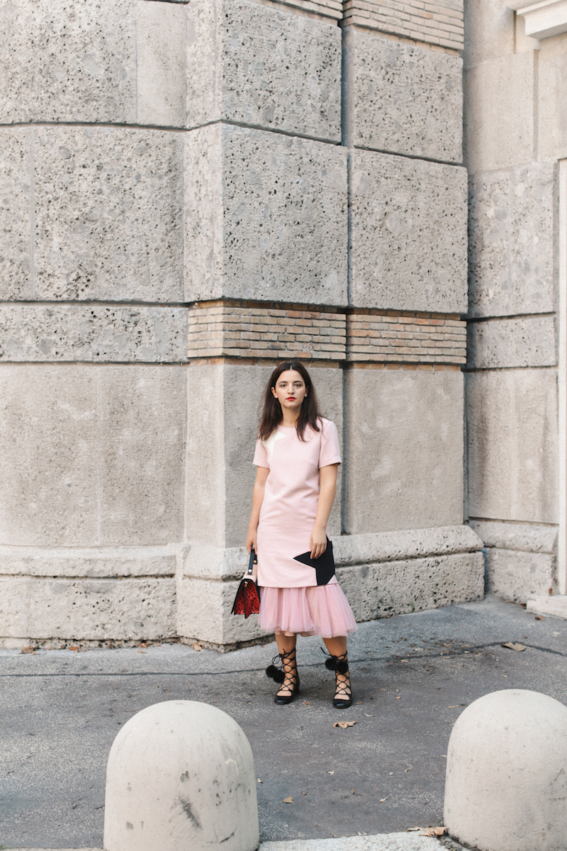 millenial pink dress gucci shoes