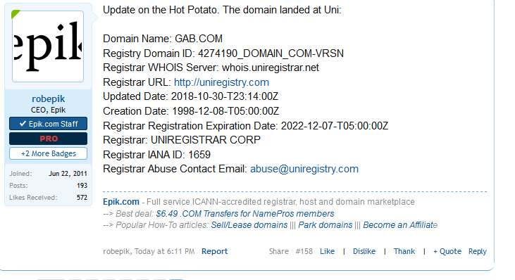 Gab com lands at Uniregistry
