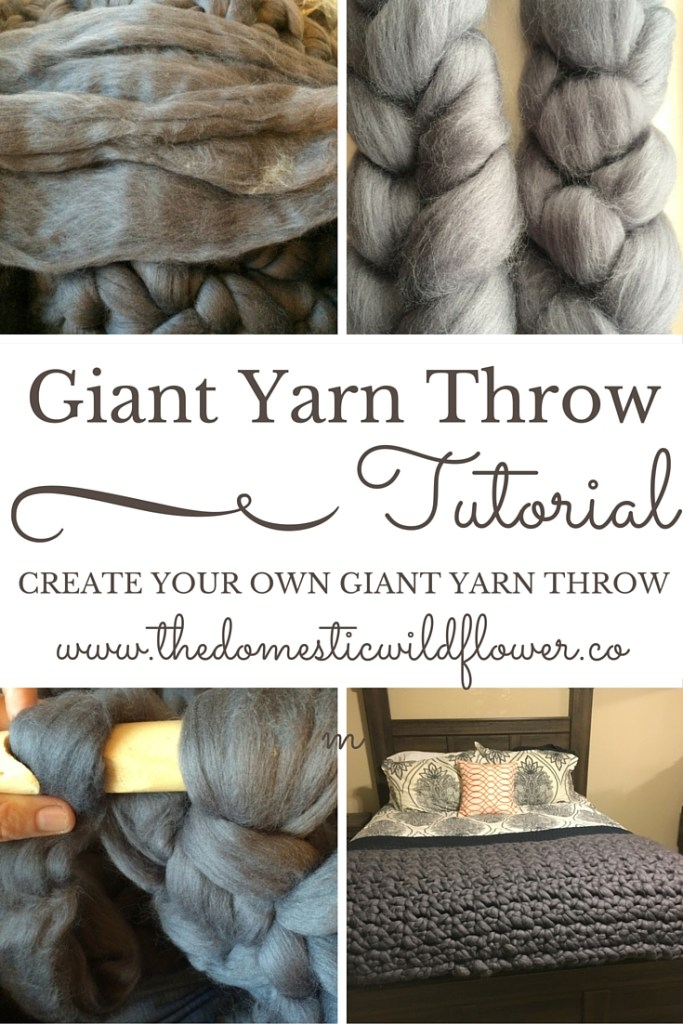 Giant Yarn Throw Tutorial | A Domestic Wildflower click to read the full tutorial for how to make your own knitted or crocheted giant yarn throw including a pattern and sources for beautiful wool yarn!
