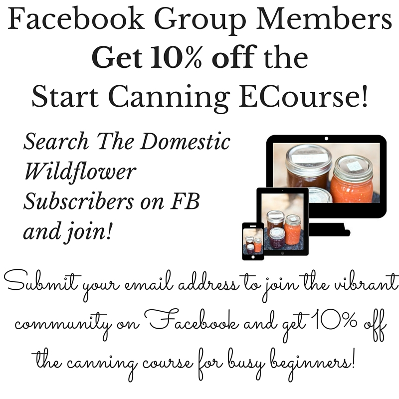Join The Domestic Wildflower Subscribers Facebook Group and get 10% off the Start Canning E Course!