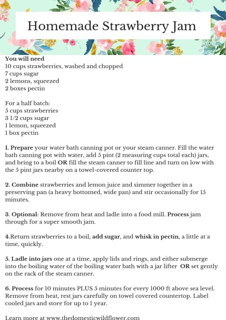 Strawberry Jam Recipe | The Domestic Wildflower Canning Recipe