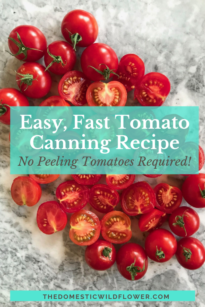 Easy Tomato Sauce Canning | This recipe skips the peeling step, which saves a ton of time! You'll never go back to peeling tomatoes when canning again!