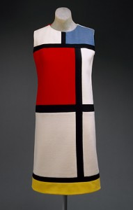 """Mondrian"" day dress, autumn 1965 Yves Saint Laurent (French, born Algeria, 1936) Wool jersey in color blocks of white, red, blue, black, and yellow Gift of Mrs. William Rand, 1969 (C.I.69.23)"