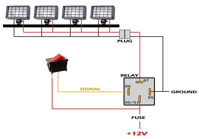 How To Wire A Relay For Led Lights Light Relay Diagram Wiring