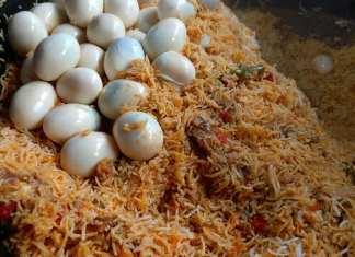 making Indian egg biryani recipe