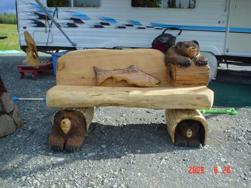 benches chain saw carving