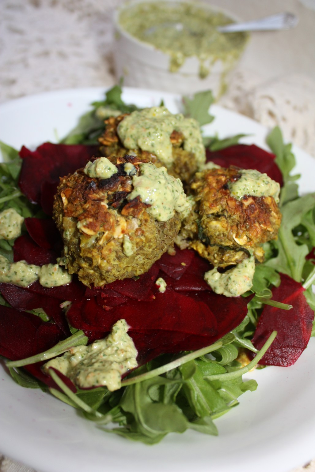 "Lentil ""Meat""balls with Vegan Pesto"