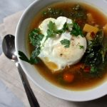 Kale + Beet Soup with Poached Egg