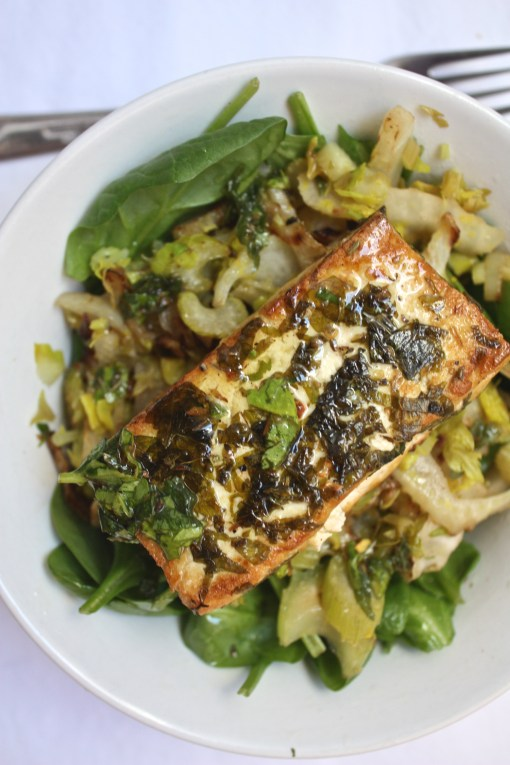 Seared Chimichurri Tofu with Caramelized Fennel and Celery