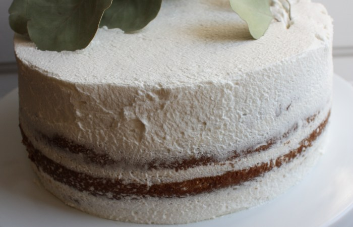 Classic Vanilla Birthday Cake Layered with Passion Fruit Curd + Honey Whipped Cream