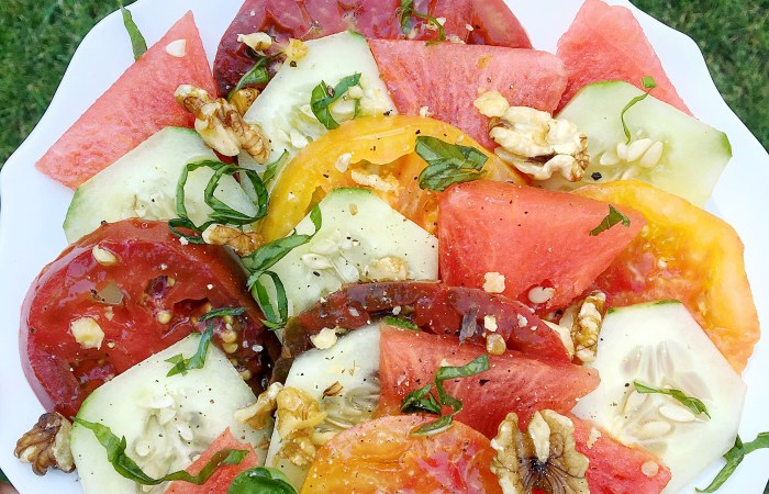 Late Summer Salads with Peaches + Watermelon