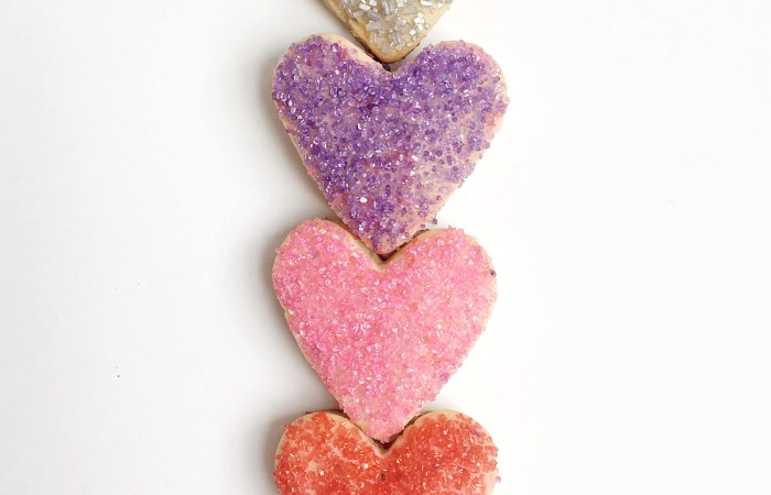Valentine Sugar Cookie Hearts & 3 Ways to Decorate with Sugar Crystals