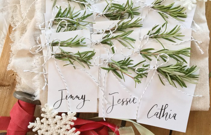 Handmade Holiday : Fresh Herb Place Cards
