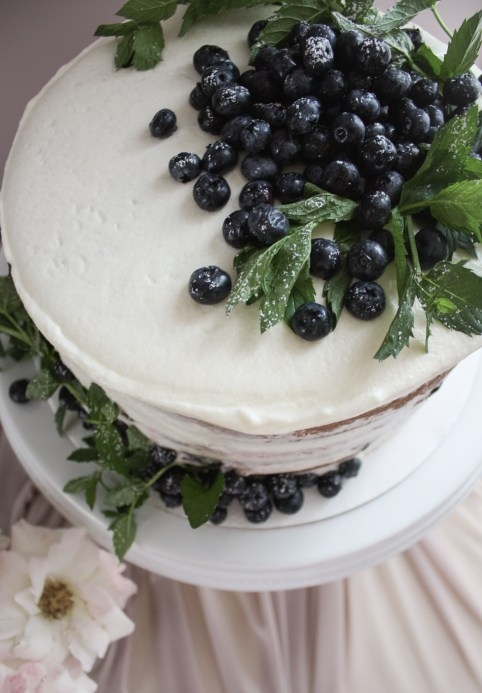 Vanilla Fresh Blueberry Layered Cake with Cream Cheese Frosting | Dreamery Events