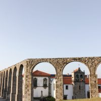 Traveling to ….. a hazy sunset detour to Aqueducts + Monastery walls of Vila do Conde