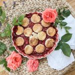 Strawberry Rhubarb Rose Cobbler