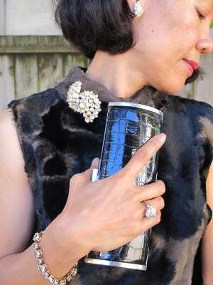 Unsigned vintage screw-back earrings and brooch, and my mother's ring, given to her by her parents in the Philippines.