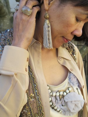 Neutral layers give sparkly embellishments a more casual vibe.