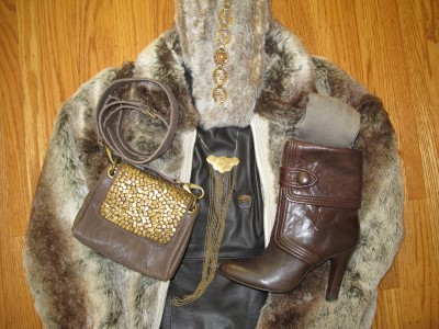 Keeping the winter chill away with faux fur jacket and scarf (Restoration Hardware) and leather (Frye booties) and warm gold (necklace and bracelet by M.E. Moore and Monserat De Lucca crossbody bag).