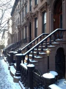 Beautiful brownstones in snow.