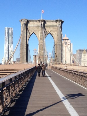 Walking the Brooklyn Bridge on a crisp sunny Sunday morning.