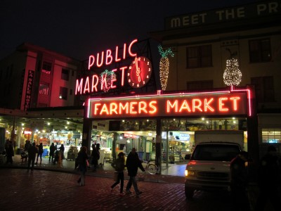 Wandering around Pike Place Market at night.