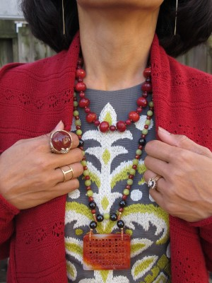 Carmela Rose necklaces pop in this outfit, with earrings from Abacus (Portland, ME) and a simple band from In God We Trust (NYC) and statement ring from Juicy Couture.