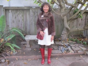 Mixing textures with faux fur, faux suede, creamy lace, patterned tights, vintage brooch, and red leather boots!