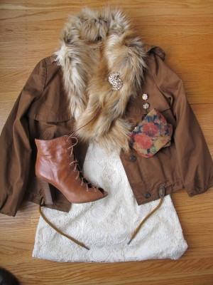Variation on the lace dress: different-colored faux fur scarf, canvas drawstring jacket, vintage-inspired lace-up booties, flowery tights, and vintage Weiss earrings and brooch.