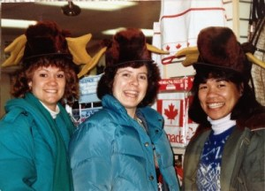Camping it up at a Niagara Falls gift shop, with Laurel and friend Connie from the Jesuit Volunteer Corps, Winter 1989.