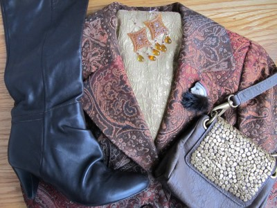 Dark-rinse jean leggings get a boost with a lot of texture: paisley and brocade, Carmela Rose reclaimed vintage chandelier earrings, my own vintage pin (1980s gift from my college roommate!), butter-soft chocolate leather, and gold-studded accents on a crossbody bag.